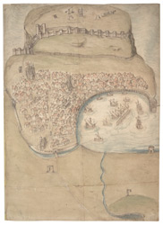 A Coloured Plan or Bird's Eye View of Scarborough Town and Castle